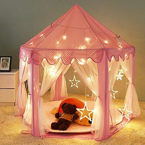 "Porpora Castle Play Tent Fairy Princess Hexagon Playhouse for Large 55""x 53"" PINK LED"
