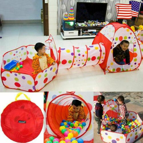 3 in1 Portable Kid In/Outdoor Play Tent Crawl Tunnel Set Bal