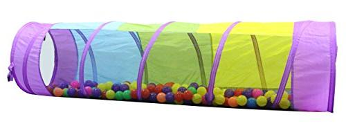 kiddey multicolored play tunnel kids crawl explore tent see