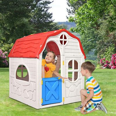 Kids Cottage House Foldable Indoor Outdoor