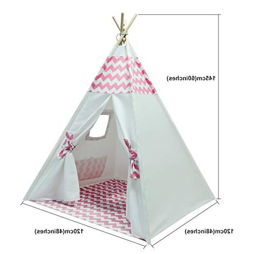 Kids Teepee Kids with Stabilizer Teepee Play Tent for Girls Outdoor Play House White Pink Pee