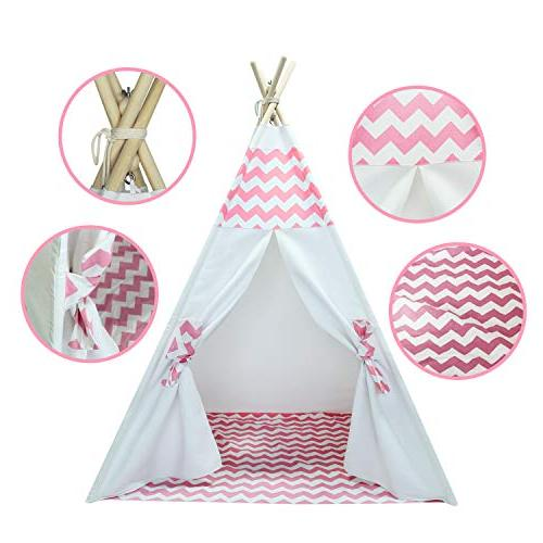 Kids Teepee Tent Kids Girls Kids with Stabilizer Children Tent Girls Outdoor White Teepee Tent Pink