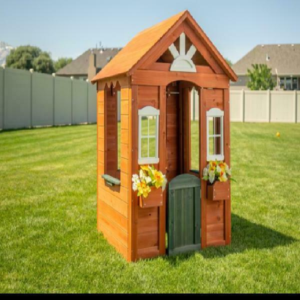 Kids Wooden Playhouse with Fun Colored Door - Outdoor Play