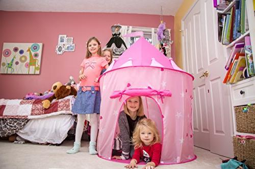 Kiddey Play Tent in the Dark – Indoor/Outdoor Playhouse for Girls, Carry for Easy Storage. Gift