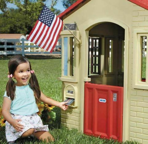 Little Cottage Playhouse Tan Red