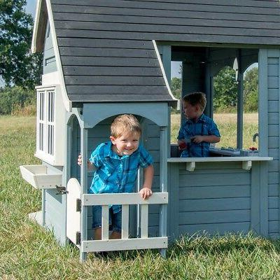 Outdoor Cedar Playhouse Backyard Discovery Spring Play House