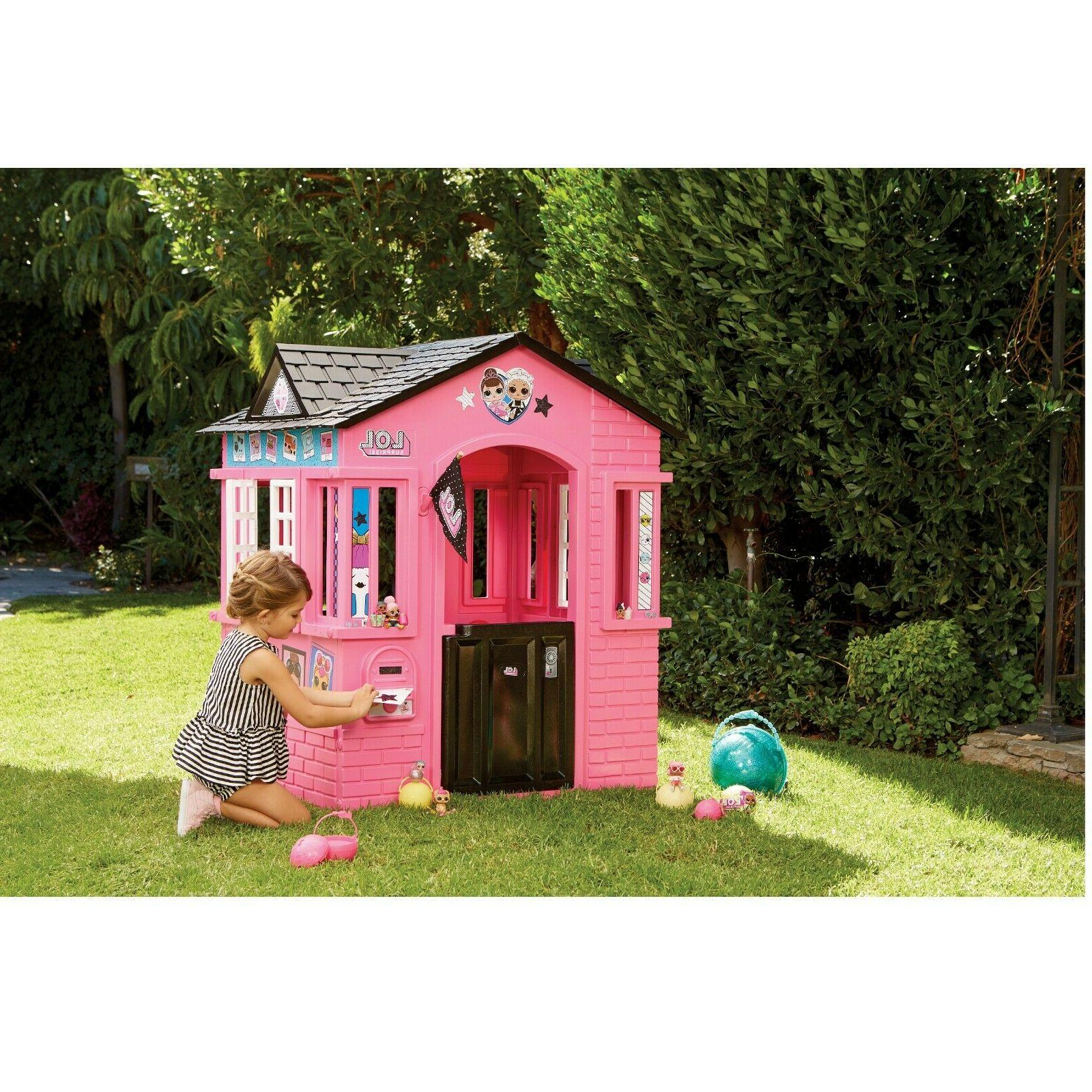 Outdoor Pink Playhouse with Glitter Kids House Stickers