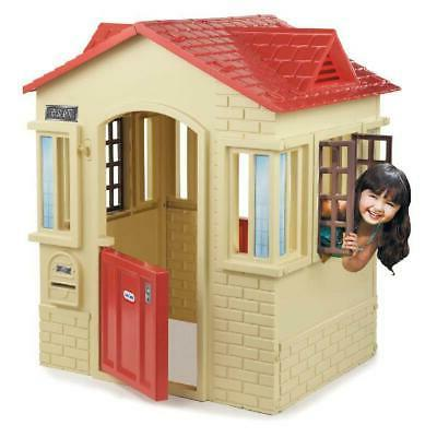 Cottage Playhouse Kids Gift Outdoor Pretend Playset Backyard