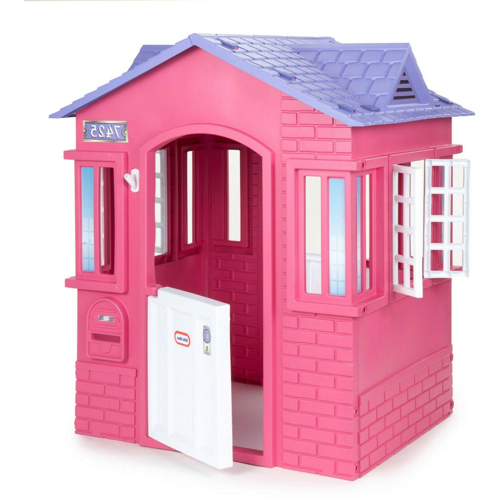 Plastic Pretend Play House Toddler Indoor Outdoor Pink Fun P