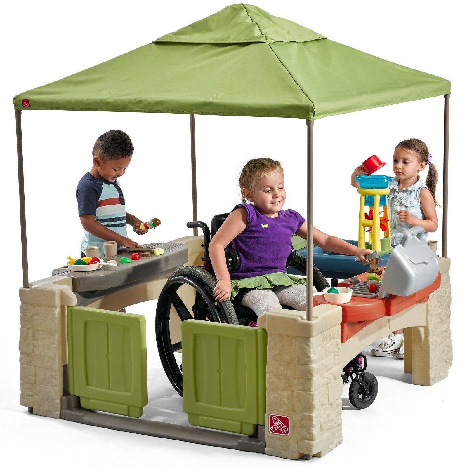 outdoor playset playhouse with canopy green 16