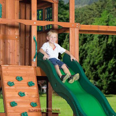 Outdoor Swing Set Toy Playhouse with Slide