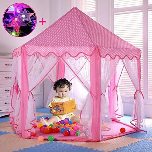 Aubeco Pink Hexagon Castle Cute Play Tent Playhouse with 23ft Star String for Girls,