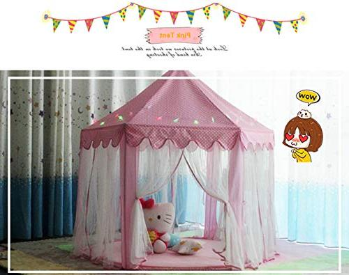 Aubeco Pink Hexagon Castle Cute Indoor Play Playhouse with Star String Lights, for