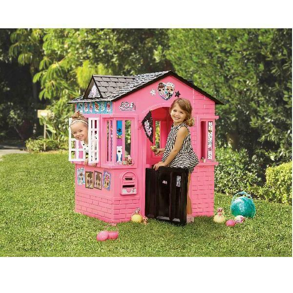 pink outdoor playhouse with glitter girls kids