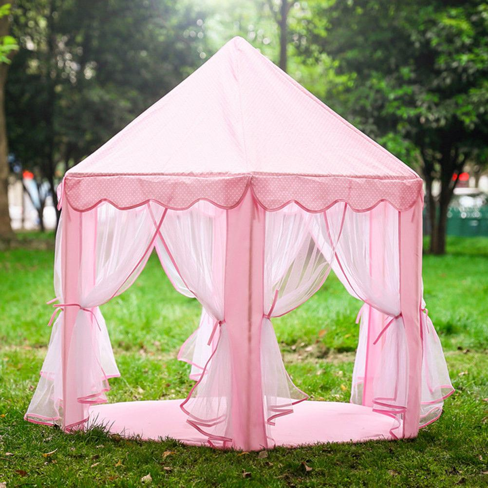 pink tent princess castle girls playing house