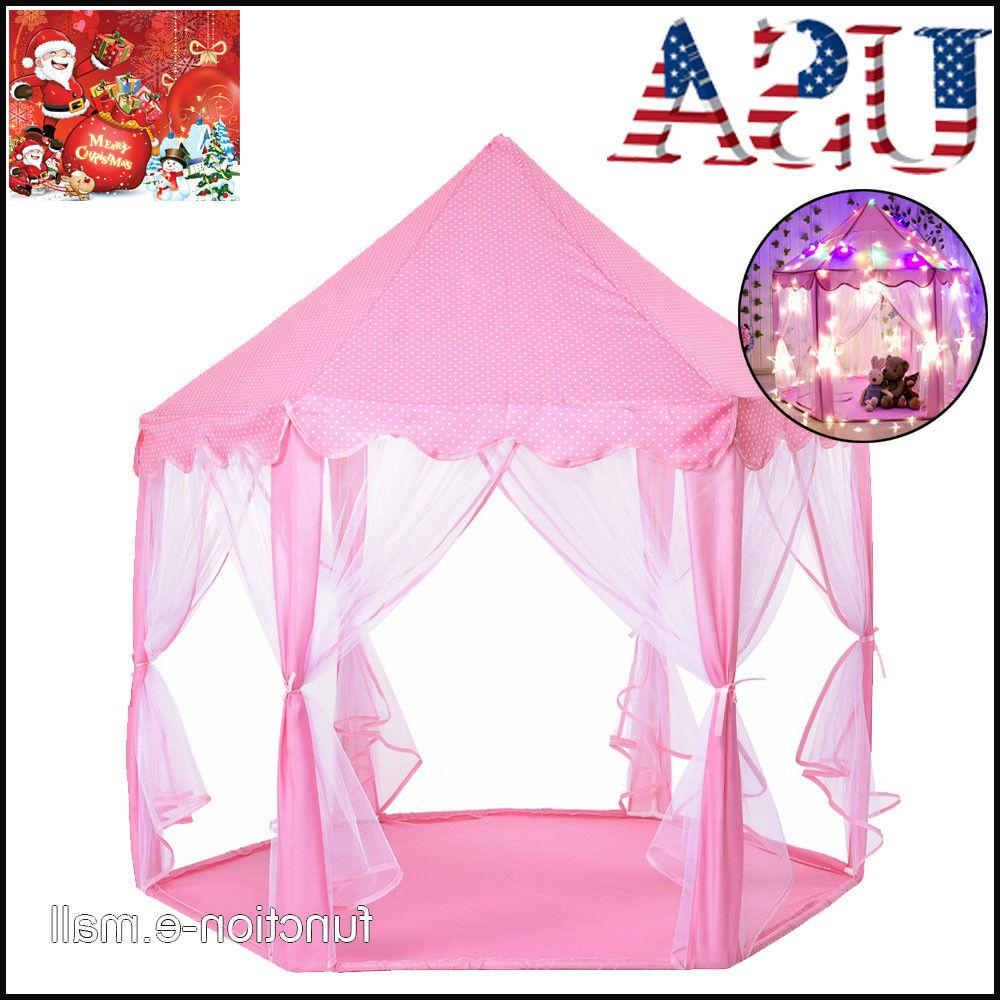 pink tent princess house castle girls playhouse