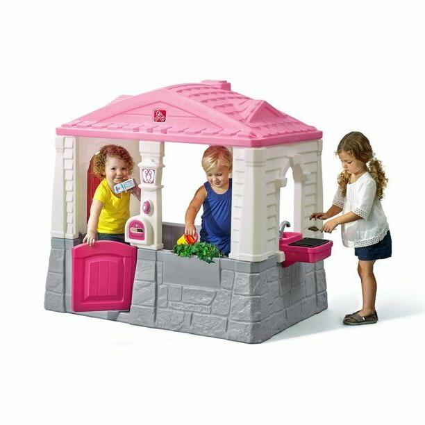 plastic playhouse cottage pink indoor