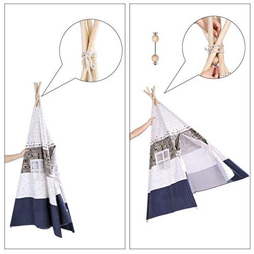SONGMICS Play Teepee, Portable Play Tent Toddlers, Floor Pillows, Decoration Private for to 3
