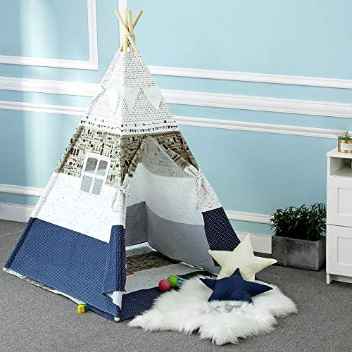 SONGMICS Kids Play Teepee, Portable Play for Toddlers, with Floor Mat, Throw Decoration Carry Private Space Up to ULTP01EU