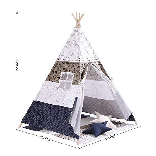 SONGMICS Kids Play Portable Tent Toddlers, Floor Decoration Carry Private for to 3 Kids,