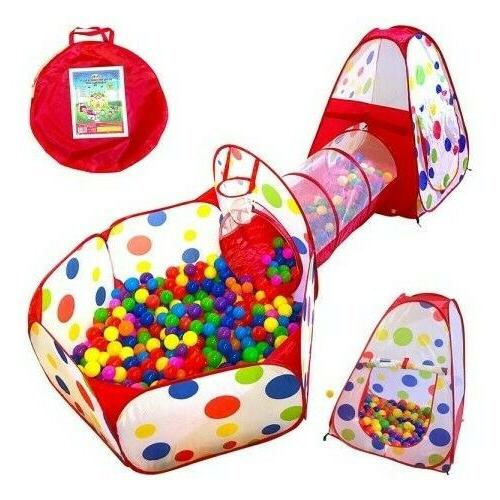 Play Tent Indoor Outdoor Crawl Tunnel Playhouse Ball Pit wit