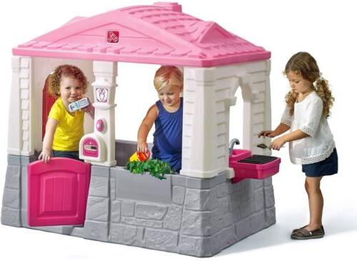 Kids Outdoor Child Cottage Play House Toy Girls Pink