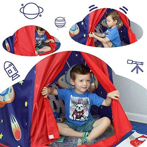 SONGMICS Tent for Boys Portable Pop Up Teepee with Carry F963 Certified, Blue ULPT01BU