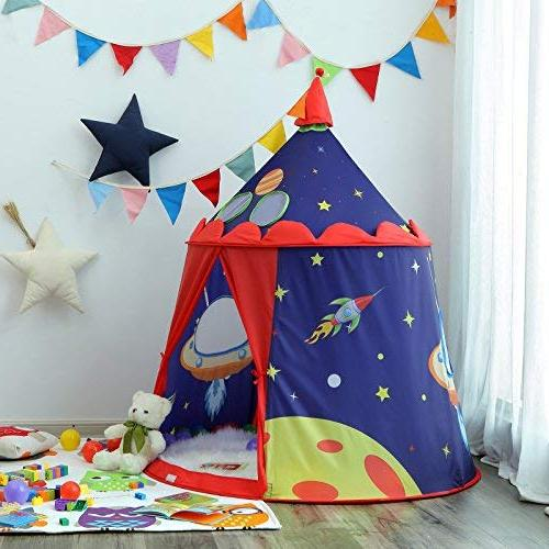 SONGMICS Tent for Toddler, Indoor and Portable Play Teepee with Carry Bag, Gift for ASTM F963 Blue