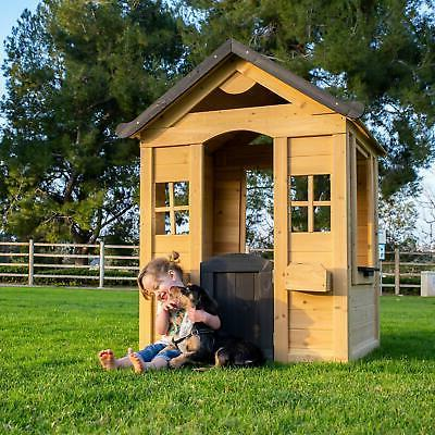 Rustic  Solid Wood Playhouse Kids Outdoor Fun Play Natural F