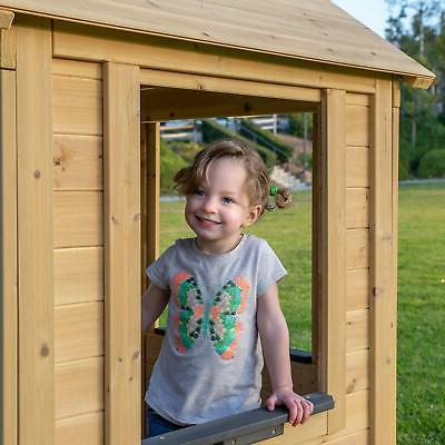Rustic Playhouse Kids Outdoor Fun Natural EASY ASSEMBLY