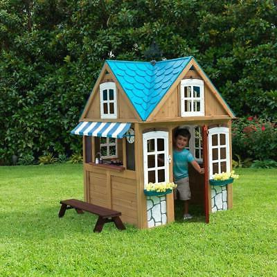 Seaside Cottage Outdoor Playhouse Easy Up 100% Wood Material