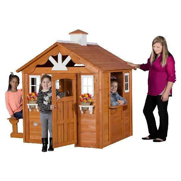 Backyard Wooden Playhouse Outdoor Kids Play