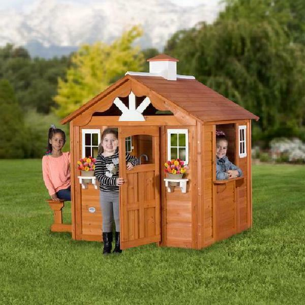 summer cottage wooden cedar playhouse outdoor kids