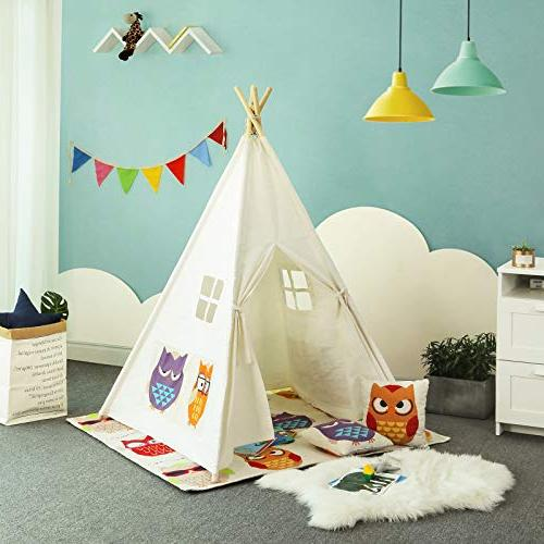 SONGMICS Teepee, Portable Play for with Floor Mat, Flags, Carry Space 3 Kids,