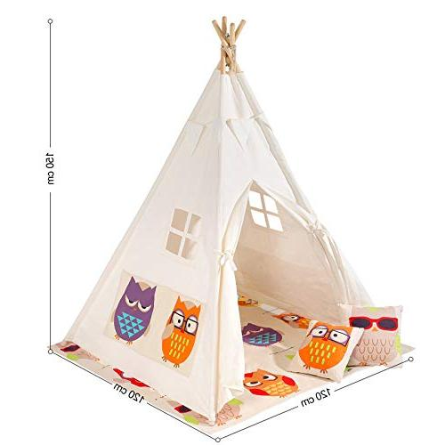 SONGMICS Kids Teepee, Play with Floor Mat, Flags, Bag, Space for Up 3 Kids,