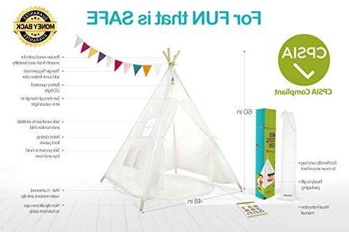 Kids Teepee Tent Play 5 Raw White Canvas Four Thick Cushion Banner Outdoor and Decor