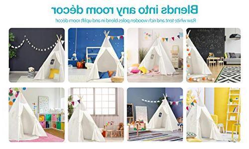 Kids Teepee Children Play Tent Raw Cotton Four Wooden Cushion Mat LED Light Banner Carry Outdoor for Girls and Decor
