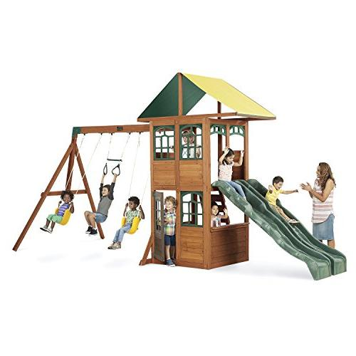 treasure cove wooden swing set