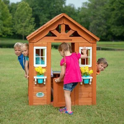 Wooden Play Backyard Discovery Timberlake Cedar Kids Cottage