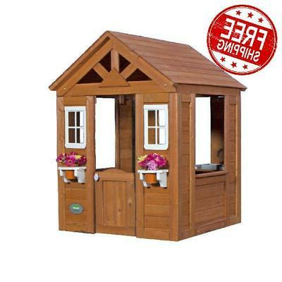 wooden play house timberlake cedar kids cottage