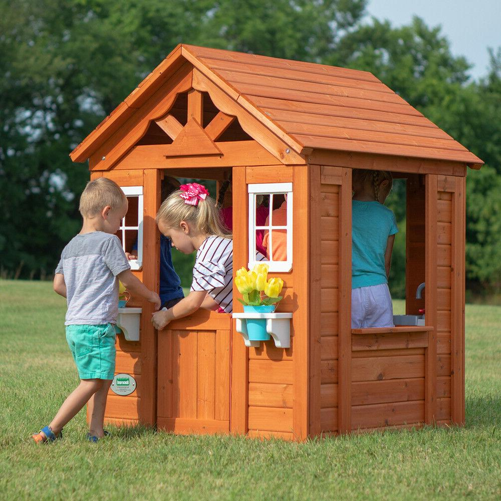 wooden playhouse backyard house family