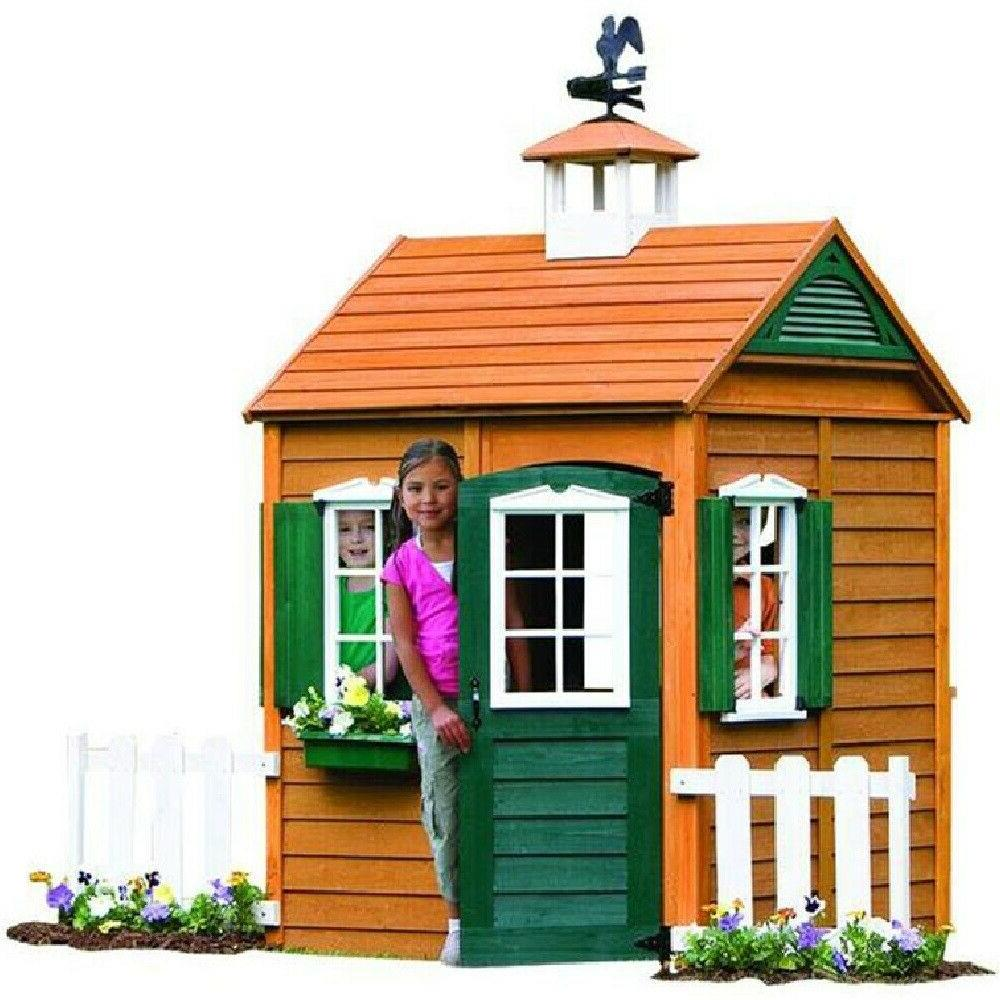 wooden playhouse permanent outdoor play house realistic