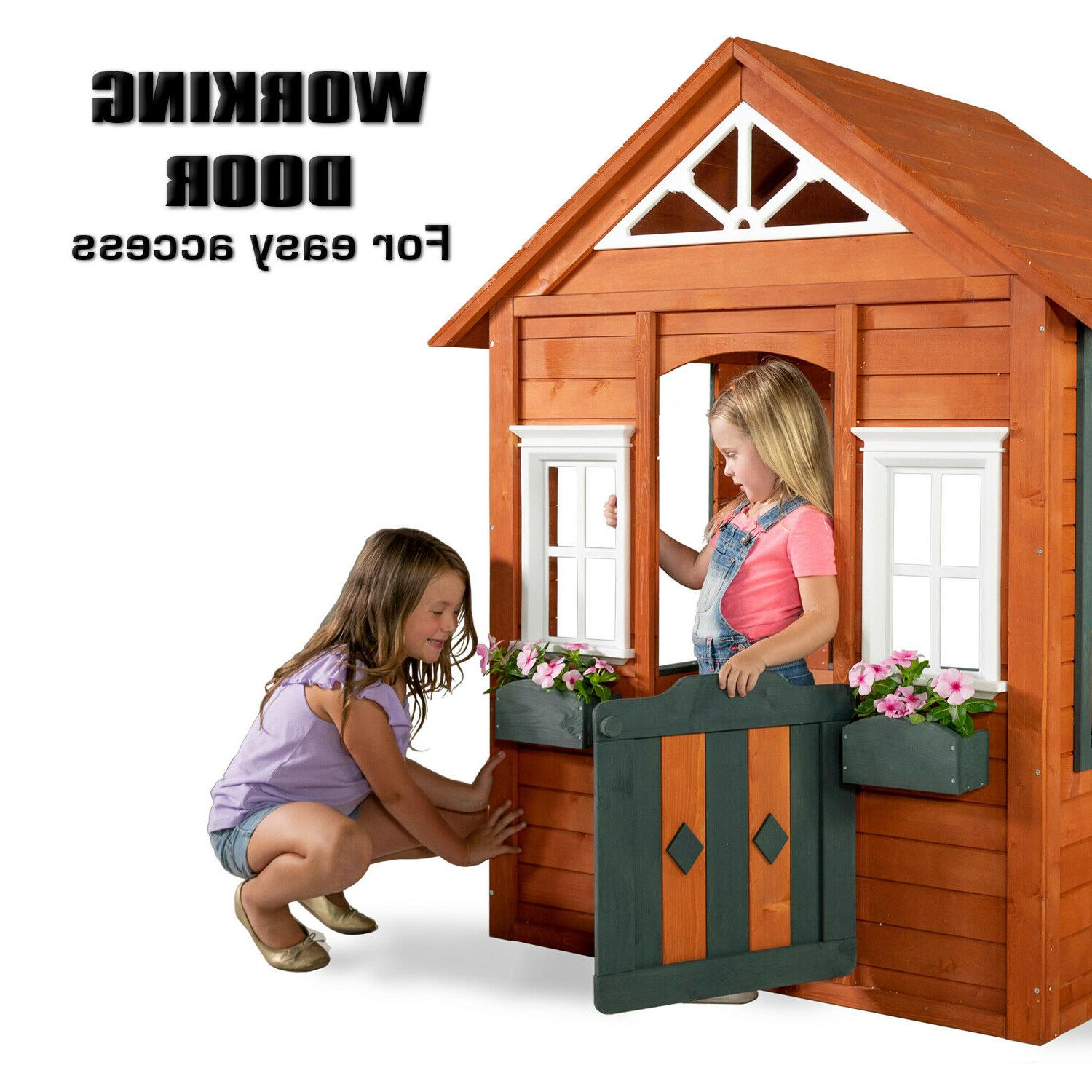 Wooden Playhouse Yard Boys Girls Kids Children