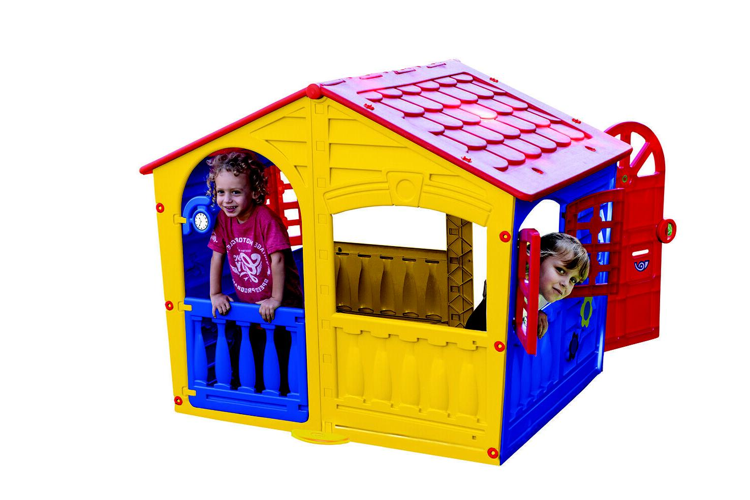 Yellow Playhouse Kids Play Yard Cottage