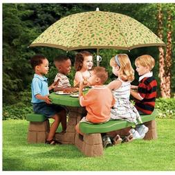 Naturally Playful Picnic Table with 60-inch Umbrella, 3 Year