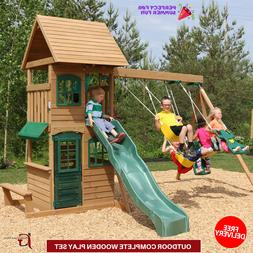 Outdoor Complete Wooden Play Big Playground Swing Set Playho