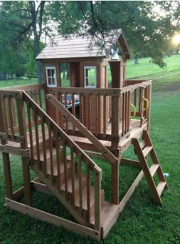 Outdoor Kids Cedar Playhouse w/ Wooden Stairs Backyard BIG C