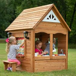 Outdoor Kids Wooden Playhouse 7x4ft Complete Kitchen Garden