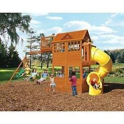 Outdoor Large Wood Playground Clubhouse Swing Set w/Tube Sli