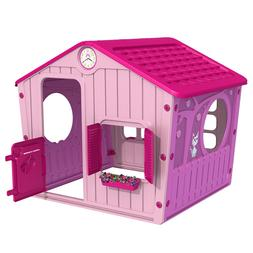 Outdoor Pink Playhouse Kids Princess Village House Cottage C